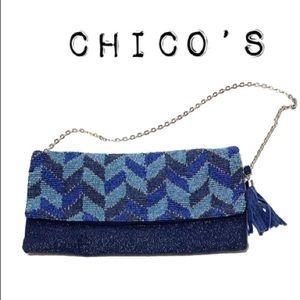 Chico's Blue Beaded Herringbone Clutch